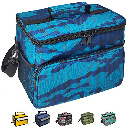 Reusable Leakproof Insulated Cooler Lunch Bag Office Work Picnic School Beach Lunch Box with Multi-Pockets for Men Women and Kids (Blue Camo, Large)