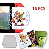 16PCS NFC Tag Playing Cards para Splatoon 2 con tarjetero de cuero, compatible para Switch / Wii U / 3DS XL