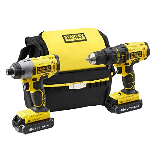 STANLEY FATMAX FMCK465C2S-QW 18V Hammer Drill and 18V Impact Driver with 2 x 1.3Ah Lithium Batteries and Carrying Bag