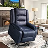 Aoxun Electric Power Lift Recliner Chair Leather Like Fabric Recliners for Elderly, Home Sofa Chairs with Heat & Massage, Remote Control, 3 Positions, 2 Side Pockets and USB Ports, Blue