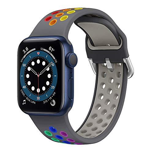 YPSNH Compatible con Correa Apple Watch 38mm 40mm 42mm 44mm Silicona Suave Sports Colorido Luminoso Correa de Reloj de Repuesto para iWatch Series 6/5/4/3/2/1/SE/Sport/Edition para Mujeres Hombres
