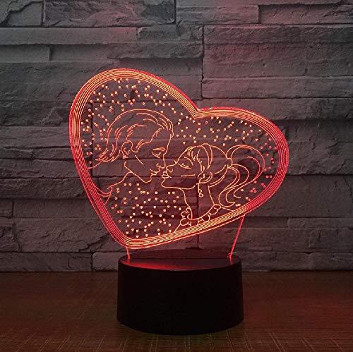 Lámpara De Mesa 3D De 7 Colores Pareja Romántica Luz De Noche Led Regalo De San Valentín Regalo Creativo