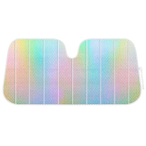 Sharper Image Iridescent Mermaid, Hologram Foil, Chameleon Front Windshield Sun Shade, Double Bubble Accordion Folding Auto Sunshade for Car Truck SUV 58 x 27 Inch, Model Number: SIAS-2531