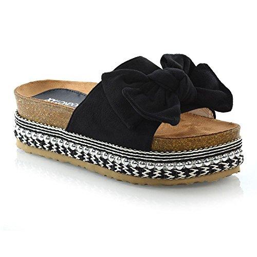 Essex Glam Mujer Lazo Forma Plana Sandalias Punta Abierta Mujer Perla Tachuela Zapatos de Cuña Plataforma - Negro, 37