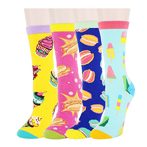 5 Pairs Womens Funny Casual Cotton Crew Socks (2, one size)