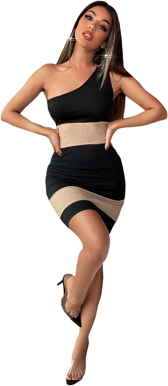 SheIn Women's Sleeveless One Shoulder Bodycon Color Blcok Short Tank Dress