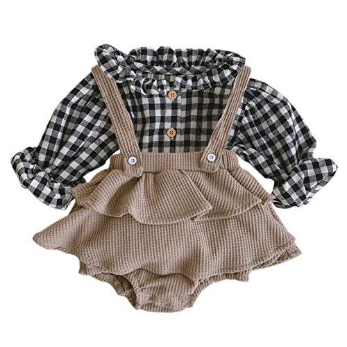 ANATA Toddler Girls Long Sleeve Jumpsuit Cotton Romper Dress Suit Little Kids Ruffle Bodysuit for Baby Girls Casual Playsuit Front Button Onesie for Halloween Outfits Flower Khaki 18-24 Months