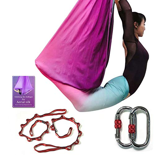DASKING Deluxe 5m/Set Yoga Swing Aerial Yoga Hammock kit with Daisy Chains O-Ring, Fabric & Guide (Multicolor-G)