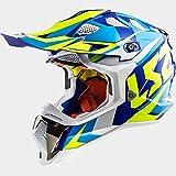 LS2 MX470 Subverter Nimble Casco Motocross Integrale Motard Caschi Moto Cross Bianco/Blu/Giallo M(57-58cm)