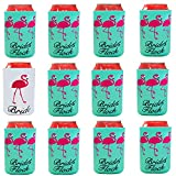 12-Pack Flamingle Bachelorette Party Can Coolers Sleeves - Tropical Bride Tribe Flamingo Neoprene Beer Can Covers for Soda, Beverage - Beach Bachelorette Bridal Shower Wedding Party Supplies Favors