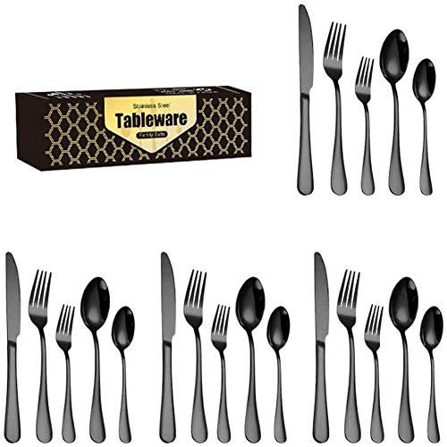 Juego de cubiertos de acero inoxidable de 20 piezas con cuchillo, cuchara, tenedor, espejo, cubiertos para el hogar y la cocina, cubiertos de color dorado TNSYGSB (color: negro)