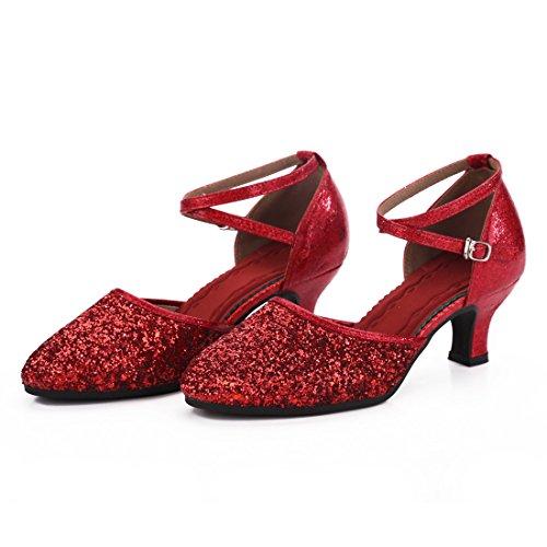 DorkasDE Damen Mädchen Tanzschuhe Latein Ballroom Tanz Schuhe Gummi Sohle mit 5.5cm Absatz - 2