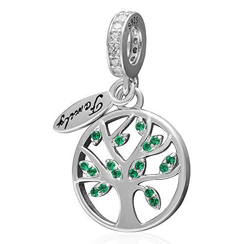 Tree of Life Family Love Charms - Ciondolo in argento sterling 925 / Ciondolo per collana Bracciali con braccialetti adatti, foglie lussureggianti rappresentano prosperità e vitalità