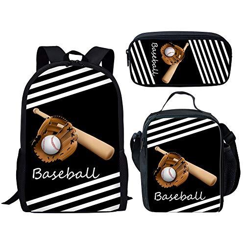 POLERO Baseball Printed Schulranzen Set Teen Girls Bookbags Laptop-Rucksack für Kinder Lunch Tote Bag Clutch Purse