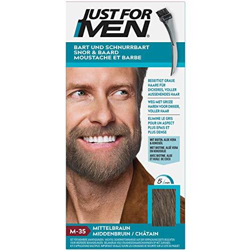 Just for Men Bigote y barba, tinte de color marrón medio, elimina el gris para un aspecto más grueso y completo – M35