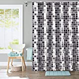 i@HOME Duschvorhang, Anti-Schimmel, Wasserdichter, Waschbar Anti-Bakteriell Duschvorhäng aus Polyester Badvorhang mit 12 Duschvorhängeringen (Mosaik, 180 x 200 cm)