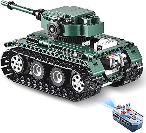 ZHWDD Ladrillos Desarrollo Juguete Juguetes de Radio Control Remoto del Tanque for niños de Control Kit de construcción, 313Pcs 01:35 2.4G 2-en-1 Tanque de construcción hefeide