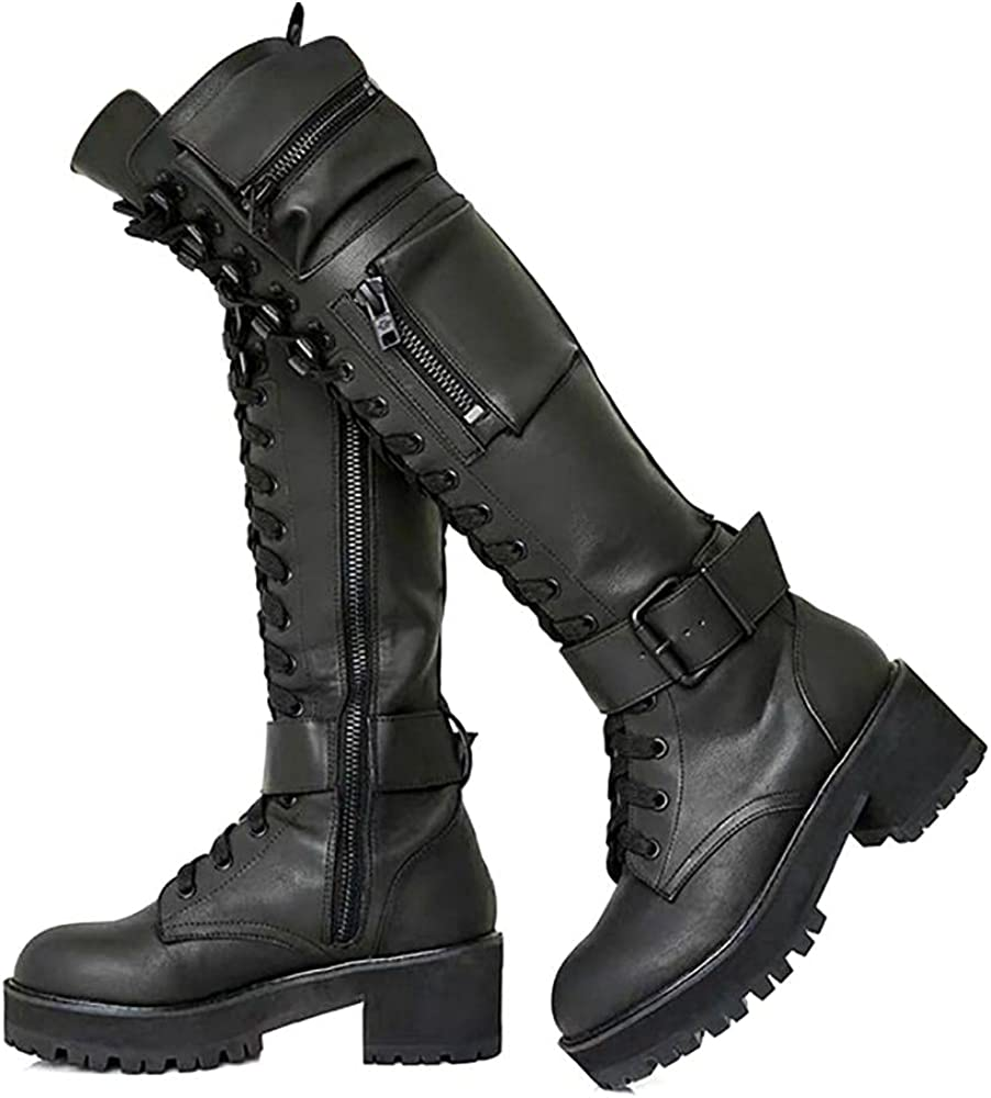 LACUONE Women's Combat Knee High Boots Round Toe Platform Lace Up Low Chunky Military Shoes