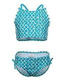 iDrawl Tankini Bademode Sommer Bikini Set Schwimmen Blau Meerjungfrau Cosplay Badebekleidung,Größe...
