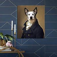 KDSMFAハンサムなスタイリッシュな犬のポスター画像現代の壁アートキャンバス絵画家の装飾のためのユニークなギフト抽象的な動物のアートワーク/ 19x27インチ(フレームなし)