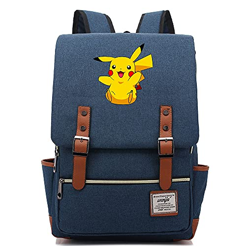 ANCHANG Anime Pikachu Mochila Unisex Business Laptop Mochila College Student School Bag Mochila de viaje Mochila L-16inch Color-06