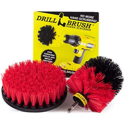 Drill-Bürste - Outdoor - Reinigungsprodukte - Spin Brush - Red Stiff Borste Scrubber Set - Bauernhof - Pferd - Scheune - Wasserbehälter - Futtereimer - Betonbecken - Beton - Gummimatte - Brunnen