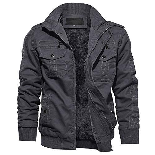 TACVASEN Men's Military Jacket Casual Cotton Full Zip Outwear Thicken Coat,Dark Grey XL
