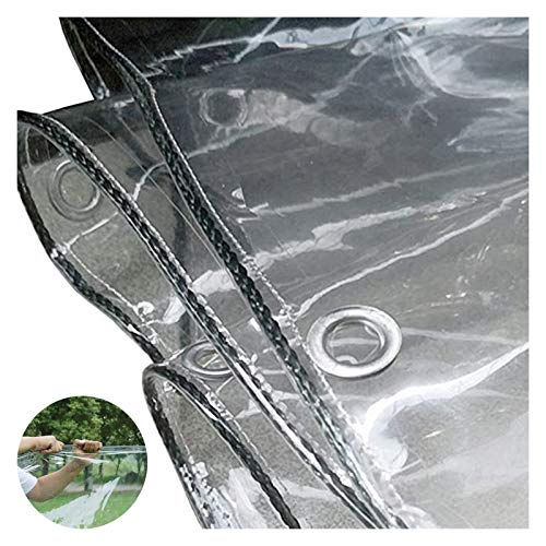 WHAIYAO Glass Clear Tarpaulin Waterproof Heavy Duty Rainproof Dustproof Plant Insulation Cover PVC Soft Plastic Cloth Metal Ring Eyelet, 19 Sizes (Color : Clear, Size : 1.4X4.0M)