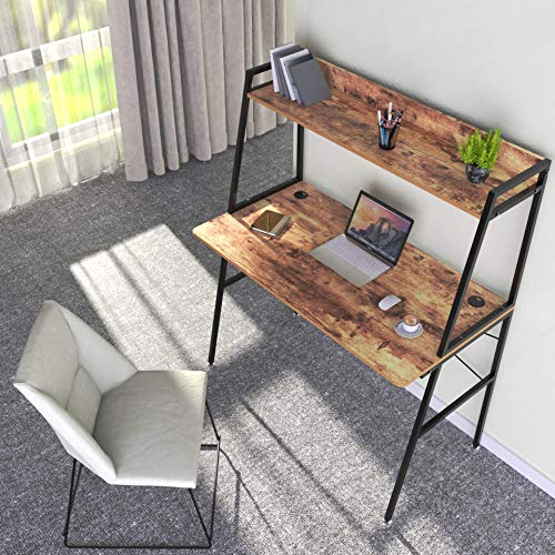 DESIGNA Computer Desk with Shelves, 43 inch Gaming Desk with Top Shelf, Home Office Desk with Bookshelf Space Saving Design, Archaize Brown