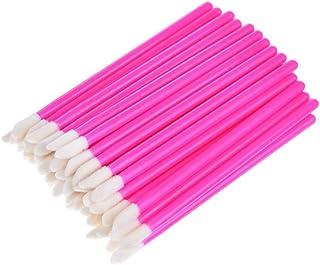 Lurrose 100 peças descartáveis batom varinhas de maquiagem pincel para lábios aplicadores de pincéis brilhantes para meninas