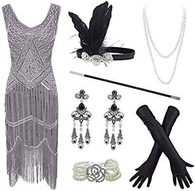 20s Flapper Gatsby Sequin Beaded Evening Cocktail Dress with Accessories Set