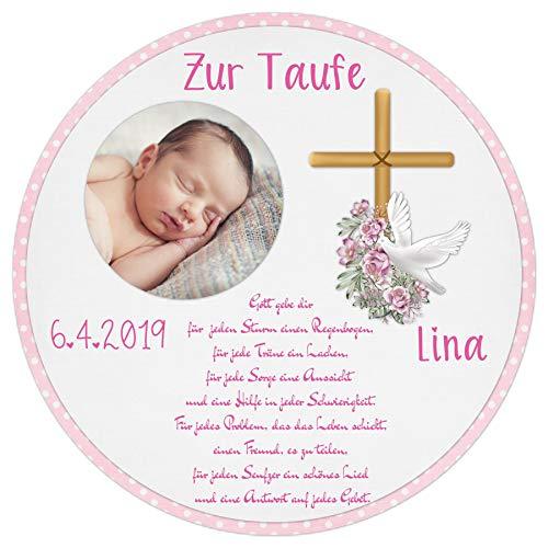 Tortenaufleger Tortenbild Taufe rosa Kreuz Taube Mädchen Wunschtext Foto essbar Ø 20cm 665