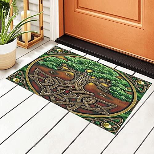 Celtic Tree of Life Door Mat Outdoor Rug Non Slip PVC Doormat Front Indoor Outdoor Doormats PVC Backing/Bathroom/Kitchen/Bedroom/Entryway Floor Mats Carpet 23.6x15.7 Inch