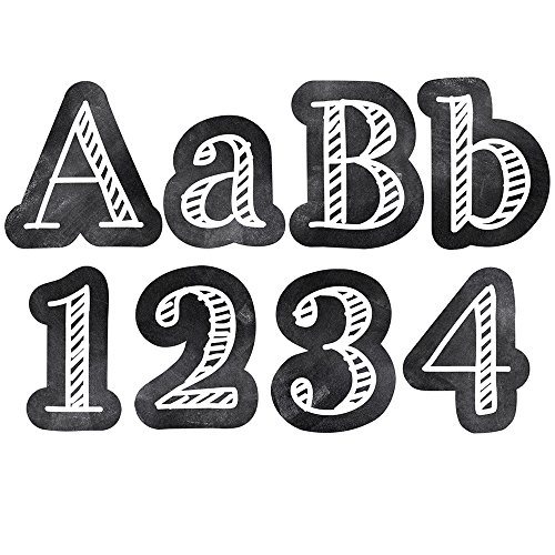 """Creative Teaching Press Chalkboard 4"""" Designer Letters, Black/White (Decorate Party Signs, Hallways, Doors, Rooms, Offices, Learning Spaces and More) (0279)"""