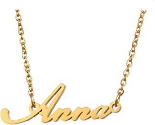WINCSPACE Personalized Name Necklace Golden Plating Stainless Steel Necklace Best Gift for Women