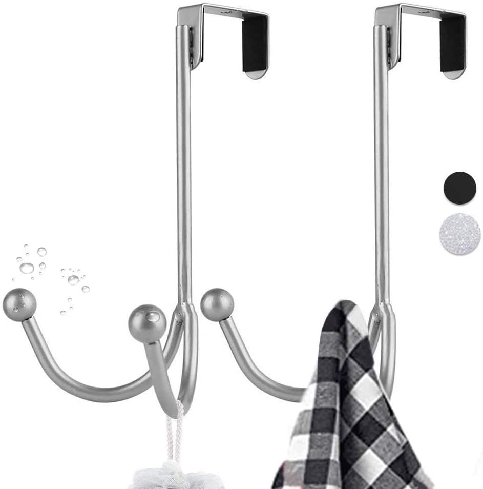 Easy-to-use YM 2PC Over The Door Max 49% OFF Metal Double Hanger Hooks Twin