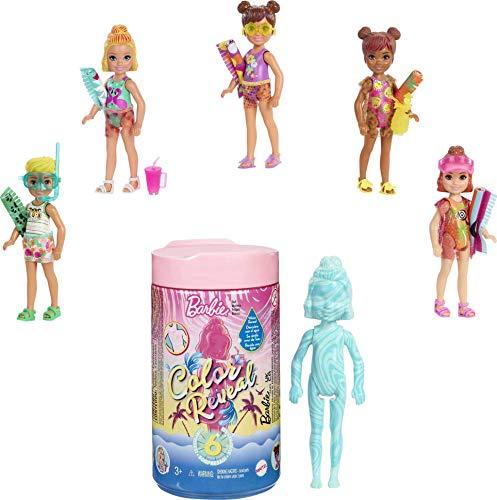 Barbie Chelsea Color Reveal Arena y Sol, muñeca sorpresa con accesorios de moda de verano de juguete (Mattel GTT25)