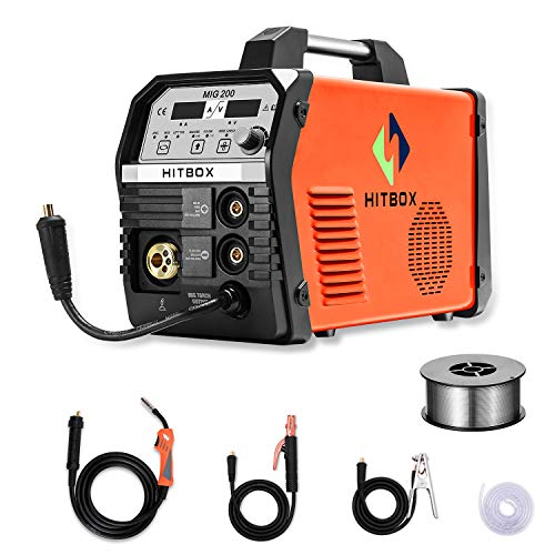 HITBOX MIG Welder 200Amp Inverter MIG ARC Lift TIG Gas Gasless 4 in 1 Multifunction MIG Welding Mahcine 220V Flux Cored Wire Solid Core Wire Welding Equipment