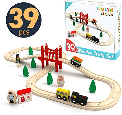 Toy-Train-Set-39 Piece-Wooden-Track & Train Pack Fits Thomas, Brio, Chuggington, Melissa - Kids Friendly Building & Construction Toy- Expandable, Changeable-Fun for 3+ Years Old Girls & Boys