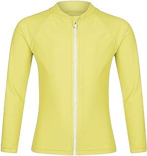 Girls Long Sleeve Rash Guard Swimwear, Zip Swim Shirt, Sun UPF 50+ (9, Yellow Rash Guard)