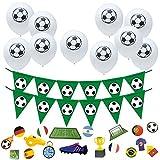 Oblique Unique® Juego de decoración para fiestas de fútbol con 10 globos, 1 guirnalda de banderines y 18 confetis para cumpleaños infantiles, para fiestas temáticas del mundial