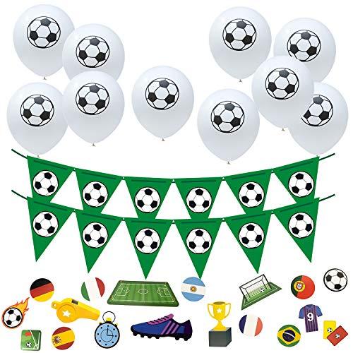 Oblique Unique Juego de decoración para fiestas de fútbol con 10 globos, 1 guirnalda de banderines y 18 confetis para cumpleaños infantiles, para fiestas temáticas del mundial