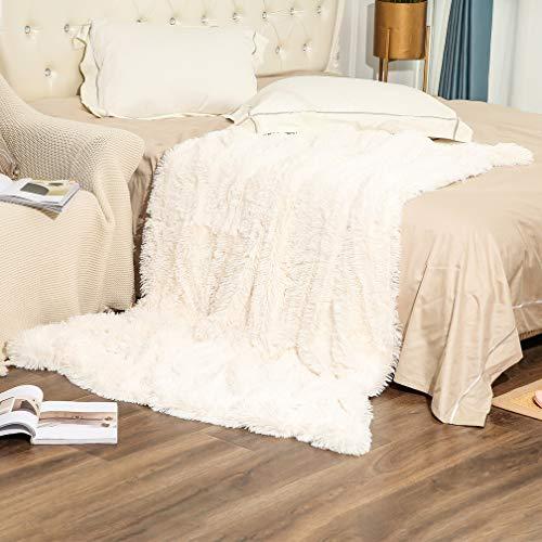 Arkey Zotteldecke aus Kunstfell, weich, lang, warm, elegant, gemütlich, flauschig, als Tagesdecke geeignet, Fleece, weiß, 220 x 240 cm