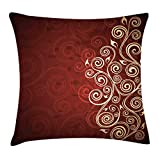 Ambesonne Burgundy Throw Pillow Cushion Cover, Floral Swirls Ivy Image with Ombre Details Grunge Backdrop Flower Artwork, Decorative Square Accent Pillow Case, 16' X 16', Cream Ruby