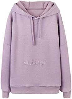Men's Three-Dimensional Embroidery Drawstring Hooded Pullover, Autumn and Winter Loose Long-Sleeved Hooded Jacket (Color : Purple, Size : XXL)