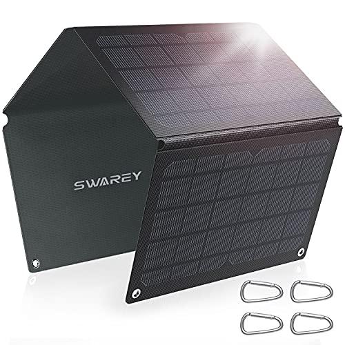SWAREY Panel Solar Monocristalino 30W ETFE, Cargador solar plegable ligero con USB-A USB QC 3.0, Cargador de Batería Solar Impermeable IP67 para Smartphone, Tableta, Cámara, Camping y viajes