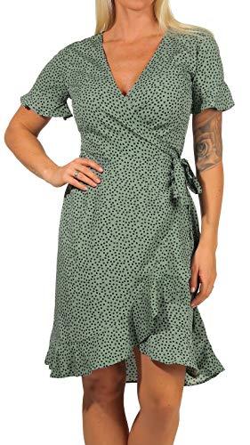 ONLY Damen Kleid ONLOlivia Wrap 15206407 Chinos Green AOP: Black Spot 38