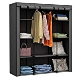 Homebi Clothes Closet Portable Wardrobe Durable Clothes Storage Organizer Non-Woven Fabric Cloth Storage Shelf with Hanging Rod and 10 Shelves for Extra Storage, 59.05' W x 17.72' D x 65.4' H (Grey)