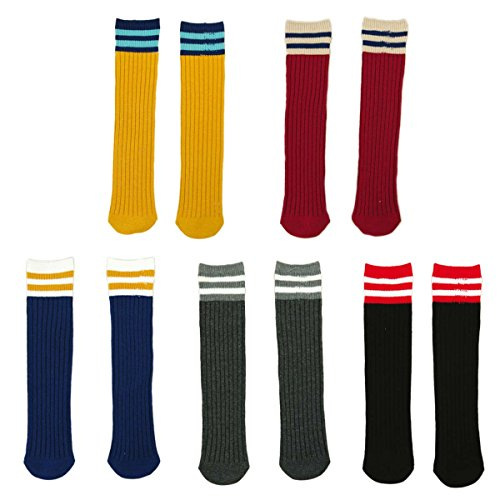 Fygood–Lote de 5pares calcetines altos hasta la rodilla, niños, unisex, rayas rayas Talla:M(4-10ans 40cm)
