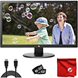 HP 24' TN LCD LED Backlit 1080p FHD Monitor (24UH) Antiglare 5ms 60Hz 1920x1080 Bundle with 6-Foot HDMI Cable, Cable Ties and Microfiber Cloth